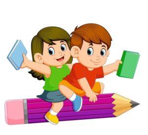 Η φωτογραφία απεικονίζει δύο παιδιά που κρατούν από ένα βιβλίο.