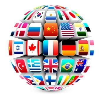 Απεικονίζεται μια υδρόγειος σφαίρα, με σημαίες όλων των χωρών.